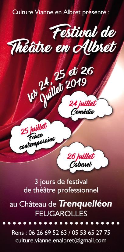 nous vous conseillons donc 3 soirées théâtrales de qualité, présentées par Culture Vianne en Albret, dans le magnifique parc du Château de Trinquelléon